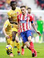 Atletico de Madrid's Saul Niguez (r) and Girona FC's Michael Olunga during La Liga match. January 20,2018. (ALTERPHOTOS/Acero)