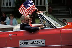 Americana Grand marshall car in  holiday celebration parade. Stock photo