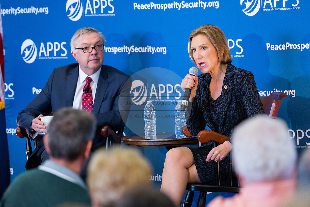 Former CEO and GOP presidential hopeful Carly Fiorina answers a question from Mike Rogers during at the National Security Forum with the Americans for Peace, Prosperity and Security at the Citadel Military College September 22, 2015 in Charleston, South Carolina.