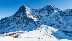 16.01.2020, Lauberhorn, Wengen, SUI, FIS Weltcup Ski Alpin, Vorberichte, im Bild Eiger (3970m), Mönch (4107m), (Jungfraujoch (3466m) // Eiger (3970m) Monk (4107m) (Jungfraujoch (3466m) during a preliminary reports prior to the FIS ski alpine world cup at the Lauberhorn in Wengen, Switzerland on 2020/01/16. EXPA Pictures © 2020, PhotoCredit: EXPA/ Johann Groder
