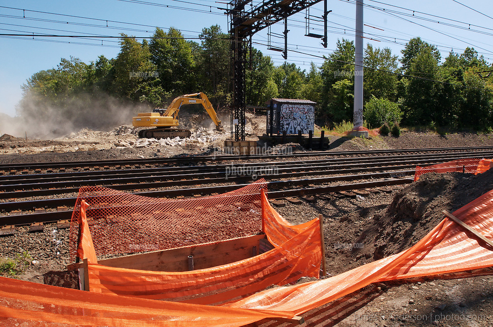 First Month of Construction at the Railroad Station at Fairfield Metro Center. Foundation prep.