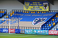Plough Lane banner behind the goal saying 'We are Wimbledon' during the EFL Sky Bet League 1 match between AFC Wimbledon and Lincoln City at Plough Lane, London, United Kingdom on 2 January 2021.