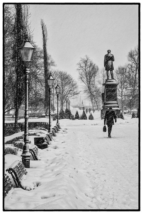 A snow storm in Helsinki, Finland.