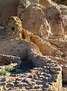 Eroding walls of Hewett's Talus Unit near Chetro Ketl Pueblo, Chaco Culture National Historical Park, New Mexico.