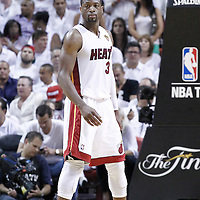 21 June 2012: Miami Heat shooting guard Dwyane Wade (3) is seen during the Miami Heat 121-106 victory over the Oklahoma City Thunder, in Game 5 of the 2012 NBA Finals, at the AmericanAirlinesArena, Miami, Florida, USA. The Miami Heat wins the series 4-1.