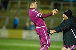 Arbroath's Bobby Linn cele scoring their third goal. Forfar Athletic 2 v 3 Arbroath, Scottish Football League Division One played 8/12/2018 at Forfar Athletic's home ground, Station Park, Forfar.