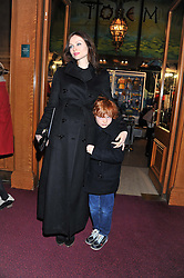 SOPHIE ELLIS-BEXTOR and her son SONNY attend the premier of 2012 Cirque du Soleil's Totem at the Royal Albert Hall, London on 5th January 2012,