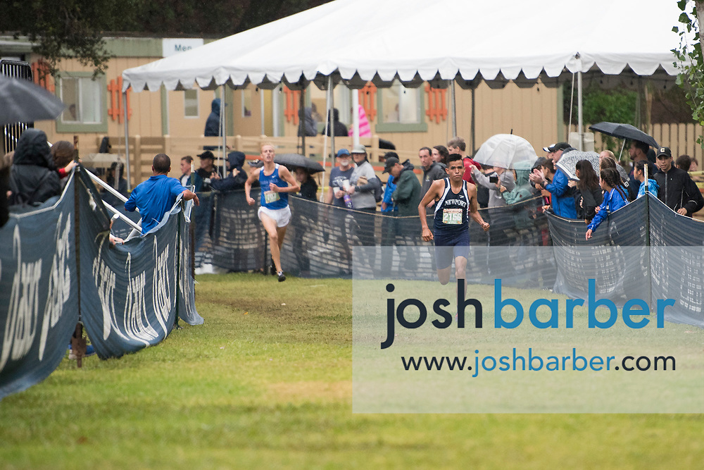 Newport Harbor's Alexis Garcia during the Boys Varsity Sweepstakes race at the Orange County Cross Country Championships  at Oak Canyon Park on Saturday, October 13, 2018 in the unincorporated community of Silverado, Calif. (Photo by Josh Barber, Contributing Photographer)