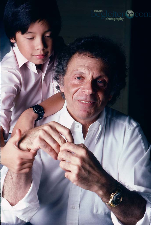 Mort Sahl and Mort Sahl Jr. photographed in 1987 at their home in LA.