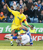 Photo: Steve Bond/Richard Lane Photography. Leicester City v Cardiff City. Coca Cola Championship. 13/03/2010. Jay Bothroyd (upper) and Jack Hobbs tangle
