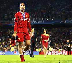 Virgil van Dijk of Liverpool FC looks dejected after 3-1 loss against Real Madrid during the UEFA Champions League final between Real Madrid and Liverpool on May 26, 2018 at NSC Olimpiyskiy Stadium in Kyiv, Ukraine