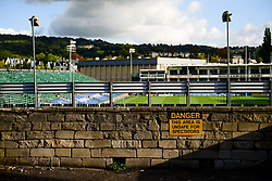 A general view of Danger Unsafe for Spectators sign at the Recreation Ground prior to kick off - Mandatory by-line: Ryan Hiscott/JMP - 09/09/2020 - RUGBY - Recreation Ground - Bath, England - Bath Rugby v Worcester Warriors - Gallagher Premiership Rugby