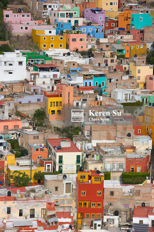Aerrial view of colonial houses, Guanajuato, Mexico