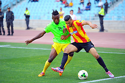 May 12, 2017 - Rades, Tunisia - Badri Anis(R) of  (EST) and Muzinga  Ngonda(14) of the Vita club during the First day of the group stage of the Champions League  2017 Total  between Esperance Sportive de Tunis (EST) and the formation of AS Vita Club (RD Congo) at the Rades stadium..The Esperance Sportive de Tunis (EST) won by 3/1. (Credit Image: © Chokri Mahjoub via ZUMA Wire)