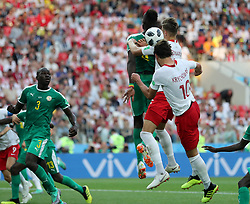 MOSCOW, June 19, 2018  Grzegorz Krychowiak (R bottom) of Poland scores during a Group H match between Poland and Senegal at the 2018 FIFA World Cup in Moscow, Russia, June 19, 2018. (Credit Image: © Cao Can/Xinhua via ZUMA Wire)