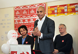 © Licensed to London News Pictures. 14/02/2016. Bristol, UK.  MARVIN REES (C) attends his campaign launch for Mayor of Bristol at Avon Primary School, Shirehampton, Bristol. Marvin Rees is the Labour candidate for Bristol's Mayoral election on 05 May, and his main rival is the incumbent George Ferguson, Bristol's first elected mayor who is standing again as an independent. There are four mayoral elections in May 2016, London, Bristol, Liverpool and Salford. Photo credit : Simon Chapman/LNP