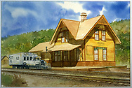 Dolores depot with RGS Goose #3 at platform.<br /> RGS  Dolores, CO  Taken by Hatton, (artist) - 1993