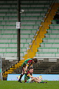 MFC Division 5 Final at Pairc Tailteann, Navan, Nobber vs Blackwater Gaels, 26th October 2014<br /> Blackwater Gaels players Alex Carry & Kieran Needle dejected after the Division 5 final defeat to Nobber<br /> Photo: David Mullen / www.cyberimages.net © 2014