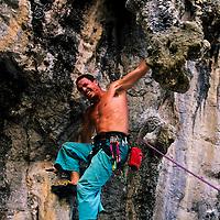 Phil Naybour climbing Stalagasaurus, 6a+, Tonsai Beach, Thailand
