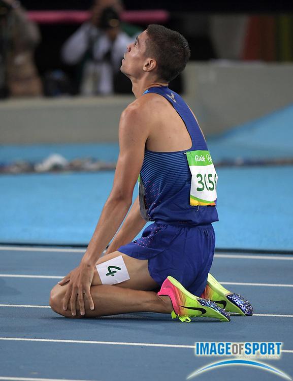 Aug 20, 2016; Rio de Janeiro, Brazil; Matthew Centrowitz (USA) celebrates after winning the 1,500m during the 2016 Rio Olympics at Estadio Olimpico Joao Havelange. <br /> <br /> *