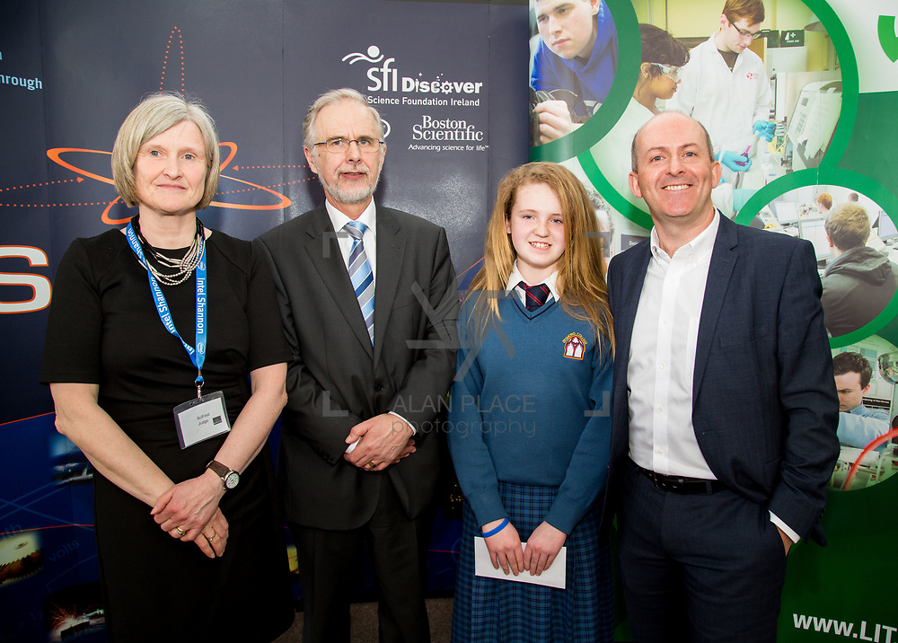 27.04.2016.          <br />  Kalin Foy and Ciara Coyle win SciFest@LIT<br /> Kalin Foy and Ciara Coyle from Colaiste Chiarain Croom to represent Limerick at Ireland's largest science competition.<br /> <br /> Desmond College student, Kayla McMahons project , IIntelligent Fire Extinguisher System won Technology, Junior First. Kayla is pictured with George Porter, SciFest and Brian Ahern, Intel<br /> <br /> Of the over 110 projects exhibited at SciFest@LIT 2016, the top prize on the day went to Kalin Foy and Ciara Coyle from Colaiste Chiarain Croom for their project, 'To design and manufacture wireless trailer lights'. The runner-up prize went to a team from John the Baptist Community School, Hospital with their project on 'Educating the Youth of Ireland about Farm Safety'. .Picture: Alan Place