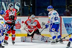 22.09.2019, Ice Rink, Znojmo, CZE, EBEL, HC Orli Znojmo vs EC VSV, 4. Runde, im Bild v.l. Adam Sedlak (HC Orli Znojmo) Teemu Tapio Lassila (HC Orli Znojmo) Miika Lahti (EC Panaceo VSV) // during the Erste Bank Eishockey League 4th round match between HC Orli Znojmo and EC VSV at the Ice Rink in Znojmo, Czechia on 2019/09/22. EXPA Pictures © 2019, PhotoCredit: EXPA/ Rostislav Pfeffer