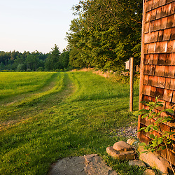 A tractor road near the barn at Raspberry Farm in Hampton Falls, New Hampshire.