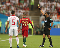 SARANSK, June 25, 2018  The referee gives a yellow card to Ricardo Quaresma (C) of Portugal during the 2018 FIFA World Cup Group B match between Iran and Portugal in Saransk, Russia, June 25, 2018. The match ended in a 1-1 draw. Portugal advanced to the round of 16. (Credit Image: © Fei Maohua/Xinhua via ZUMA Wire)