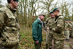 February 20, 2019 - Plymouth, United Kingdom - Image licensed to i-Images Picture Agency. 20/02/2019. Plymouth, United Kingdom.  Prince Harry, The Duke of Sussex, Captain General Royal Marines, chats to 96 year old former World War 2 Marine, Knocker White  during a visit to 42 Commando Royal Marines  in Plymouth, United Kingdom. (Credit Image: © Pool/i-Images via ZUMA Press)