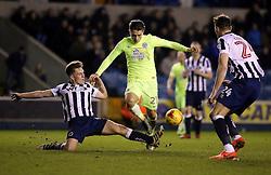 Ben Thompson of Millwall stops Tom Nichols of Peterborough United - Mandatory by-line: Joe Dent/JMP - 28/02/2017 - FOOTBALL - The Den - London, England - Millwall v Peterborough United - Sky Bet League One