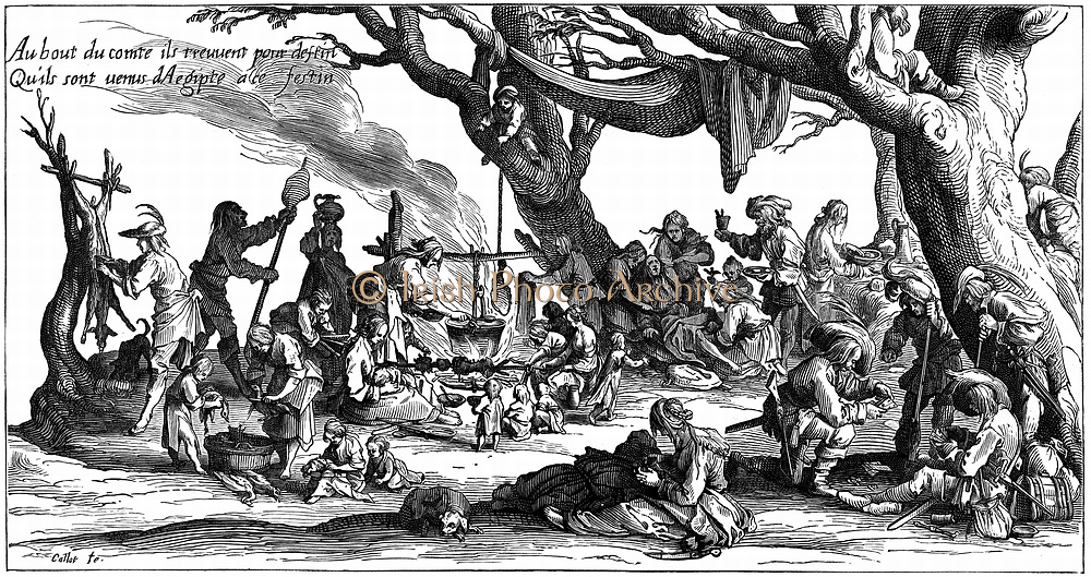 Encampment of central European gipsies also known as Egyptians. After engraving of 1604 by Jacques Callot.  Deer being butchered, birds being plucked. Women turn cooking spit and tend cooking pot over fire. Right foreground men play cards.