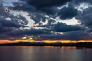 Sunset clouds over Pablo National Wildlife Refuge near Polson, Montana, USA