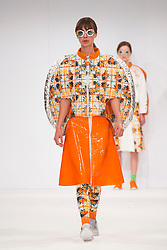 © Licensed to London News Pictures. 01/06/2015. London, UK. Collection by Beth Davies. Fashion show of Bath Spa University at Graduate Fashion Week 2015. Graduate Fashion Week takes place from 30 May to 2 June 2015 at the Old Truman Brewery, Brick Lane. Photo credit : Bettina Strenske/LNP