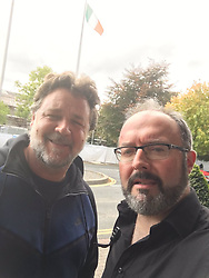 """Russell Crowe releases a photo on Twitter with the following caption: """"""""The great @russellcrowe recommends you watch us jamming on #LateLateShow and come see me tomorrow in @TChulainn ! https://t.co/WdOVnuSFeq"""""""". Photo Credit: Twitter *** No USA Distribution *** For Editorial Use Only *** Not to be Published in Books or Photo Books ***  Please note: Fees charged by the agency are for the agency's services only, and do not, nor are they intended to, convey to the user any ownership of Copyright or License in the material. The agency does not claim any ownership including but not limited to Copyright or License in the attached material. By publishing this material you expressly agree to indemnify and to hold the agency and its directors, shareholders and employees harmless from any loss, claims, damages, demands, expenses (including legal fees), or any causes of action or allegation against the agency arising out of or connected in any way with publication of the material."""