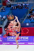 Averina Arina during the final at ribbon in Pesaro World Cup 15 April, 2018. Arina is a Russian gymnast born in Zavolž'e on 13 August 1998. She is the 2017 World All-around silver medalist. Her twin sister Dina Averina, also a rhythmic gymnastics athlete