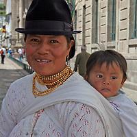 South America, Ecuador, Quito. Local Quechuan mother and baby of Quito.