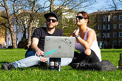 Mitch Castledine, 32, an Australian London from Wandsworth and Chelsea Stanford, 38, a Kiwi Londoner give their views on Brexit on Clapham Common in South London. London, March 24 2019.