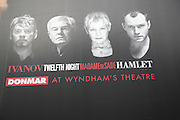 Donmar at Wyndham's theatre, Ivanov, Twelfth Night, Madame de Sade, Hamlet, poster, London, England