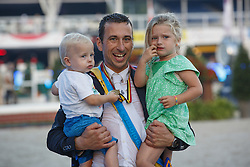 Dunon Gilles (BEL)  with his son Daan and daughter Febe<br /> Belgian Championship<br /> FEI World Breeding Jumping Championships for Young Horses - Lanaken 2014<br /> © Dirk Caremans
