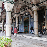 The main courtyard and entrance of Istanbul's Rustem Pasha Mosque near the Spice (Egyption) Market.