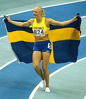 Photo. Javier Garcia<br />14/03/2003 World Indoor Athletics Championship, NIA, Birmingham<br />Pentathlon winner Carolina Kluft
