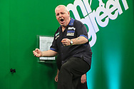 Robert Thornton beats James Richardson and and celebrates during the PDC Darts Players Championship at  at Butlins Minehead, Minehead, United Kingdom on 24 November 2017. Photo by Shane Healey.