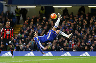Pedro of Chelsea tries an overhead kick for goal. Barclays Premier league match, Chelsea v AFC Bournemouth at Stamford Bridge in London on Saturday 5th December 2015.<br /> pic by John Patrick Fletcher, Andrew Orchard sports photography.