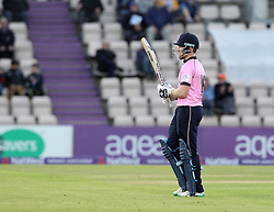 Middlesex's Eoin Morgan walks off after being dismissed by Hampshire's Will Smith - Photo mandatory by-line: Robbie Stephenson/JMP - Mobile: 07966 386802 - 04/06/2015 - SPORT - Cricket - Southampton - The Ageas Bowl - Hampshire v Middlesex - Natwest T20 Blast