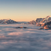 Above the Clouds, Timpanogos, the Wasatch and Uintas at first light. Sub zero wind chill not shown in photo.