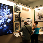 An exhibit showcasing the work of international war photographers during the Vietnam War at the War Remnants Museum in Ho Chi Minh City (Saigon), Vietnam.