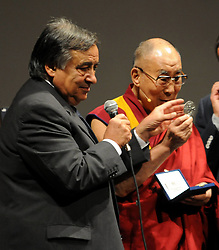 Press conference of the Dalai Lama hotel Borsa and after Massimo theater in Palermo. 18 Sep 2017 Pictured: Dalai Lama, LEOLUCA ORLANDO. Photo credit: Fotogramma / MEGA TheMegaAgency.com +1 888 505 6342