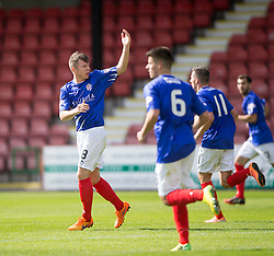 Cowdenbeath's Declan Hughes cele scoring their goal. <br /> Dunfermline 5 v 1 Cowdenbeath, Scottish League Cup game played today at East End Park.