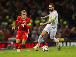 October 11, 2018 - Cardiff City, Walles, United Kingdom - Cardiff, Wales October 11, ..Aaron Ramsey of Wales and Raul Albiol of Spain battle for possession during Exhibition Match between Wales and Spain at Principality stadium, Cardiff City, on 11 Oct  2018. (Credit Image: © Action Foto Sport/NurPhoto via ZUMA Press)