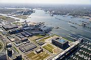 Nederland, Noord-Holland, Amsterdam, 09-04-2014; Amsterdam-Noord, voormalige NDSM werf met in de voorgrond de jachthaven Amsterdam Marina met Kraanspoor. Midden de scheepshelling met kraan. Het ghele geboed geldt als 'creatieve hotspot'<br /> Amsterdam Marina and former ship yard.<br /> luchtfoto (toeslag op standard tarieven);<br /> aerial photo (additional fee required);<br /> copyright foto/photo Siebe Swart